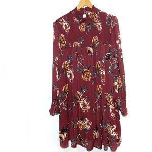 Ophelia Roe Wine Crinkle Chiffon Dress